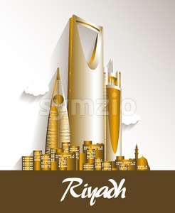 City of Riyadh Famous Buildings Vector Design Stock Vector