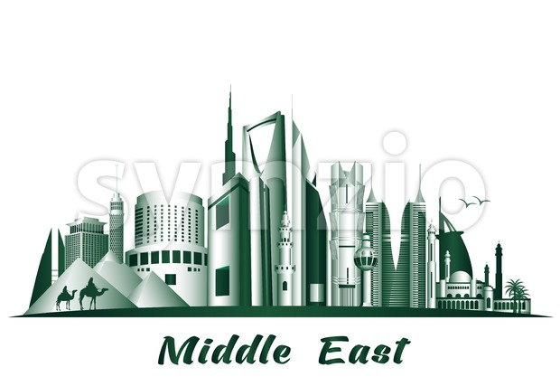 Vector Middle East Famous City Buldings and Landmarks. This landmark vector was design with 3D realistic looks and rich in details which is ...