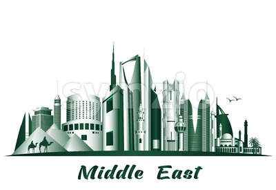 Vector Middle East Famous Buldings and Landmarks Stock Vector
