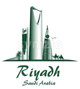 City of Riyadh Saudi Arabia Famous Buildings Stock Vector
