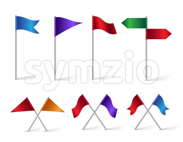 Colorful Set of Location and Destination Flag Icons for Navigation and Maps Isolated in White Background Vector Illustration. This vector icons was design with ...