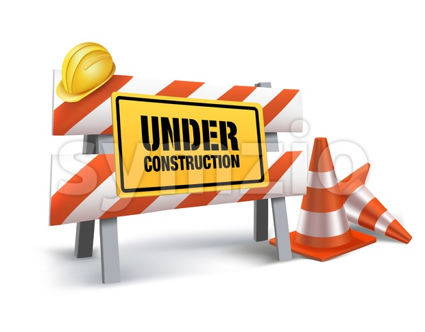 Under Construction Sign Vector Design in White Stock Vector