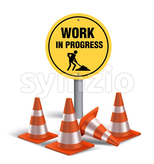 Work in Progress Sign in White Background 3D Mesh Vector illustration. This vector signs was designed with 3D realistic looks and rich in details ...