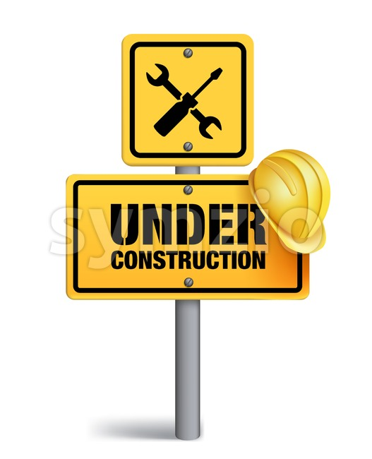 Vector Construction Sign in White Background 3D Mesh Vector illustration. This vector signs was designed with 3D realistic looks and rich in details which is ...