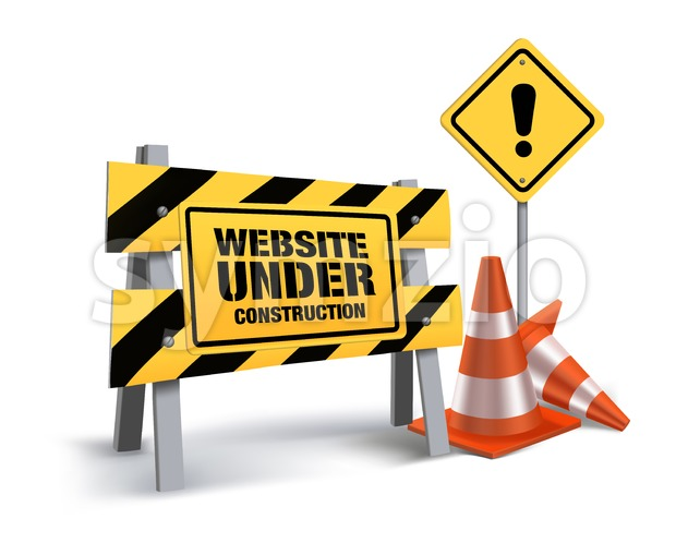 Website Under Construction Vector Sign in White Background 3D Mesh Vector illustration. This vector signs was designed with 3D realistic looks and rich in ...