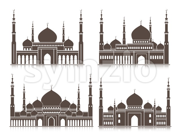 Vector Set of Silhouette Mosque or Masjid Stock Vector