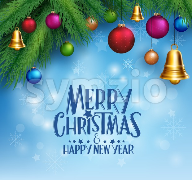 Vector Christmas Greetings with Colorful Bells Stock Vector
