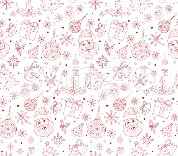 Seamless Merry Christmas Pattern in Vector Stock Vector