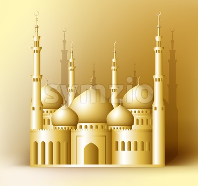 Golden Detailed Vector Mosque or Masjid Stock Vector
