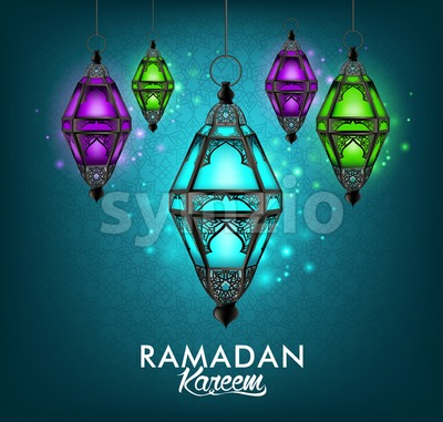 Ramadan Kareem Lantern or Fanous Hanging Stock Vector
