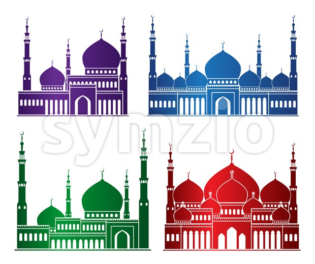 Silhouette Mosque or Masjid Vector Set Stock Vector