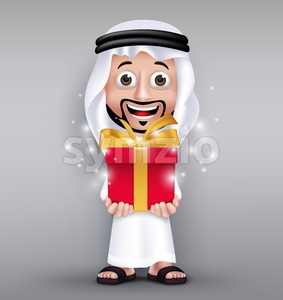 Vector Saudi Arab Man Character Giving Red Gift Stock Vector