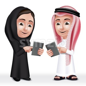 Vector Arab Kids Characters Boy and Girl Talking Stock Vector