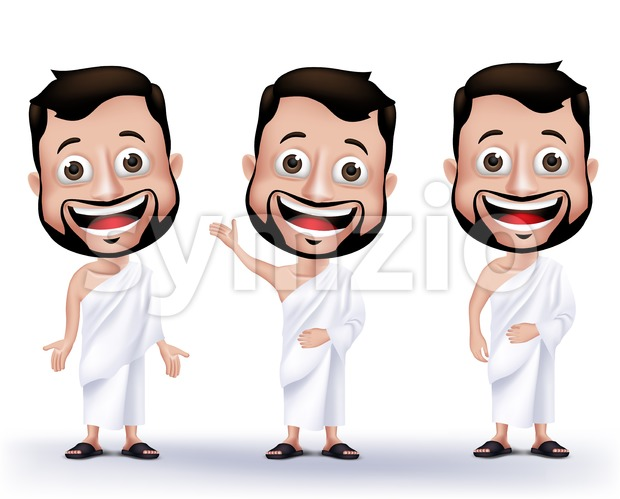 Muslim Man Wearing Ihram Cloths Vector Set Stock Vector