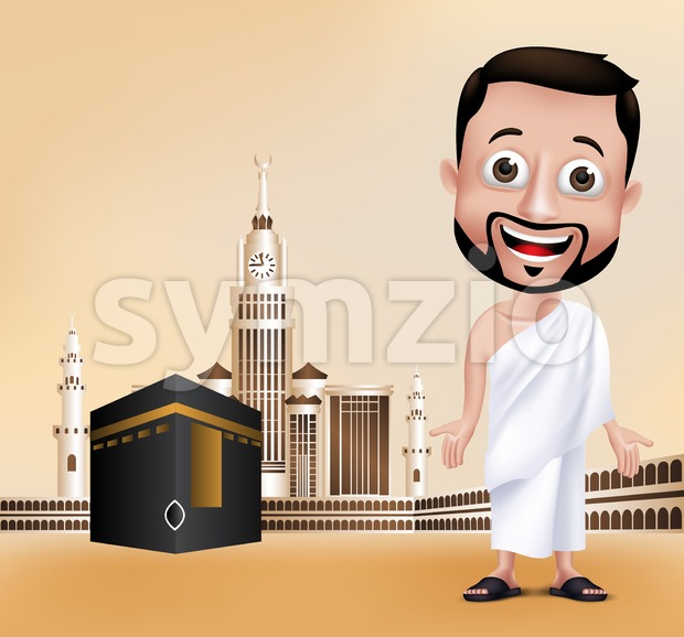 Muslim Man Character Performing Hajj in Kaaba Stock Vector