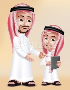 Arab Teacher Man Character Teaching Boy Stock Vector