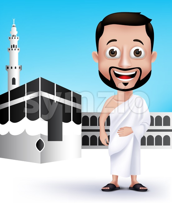 Muslim Man Character Wearing Ihram Cloths Stock Vector