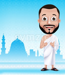 Muslim Man Character Praying Wearing Ihram Stock Vector