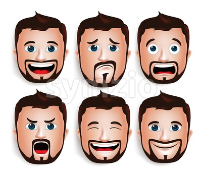 Handsome Man Head with Facial Expressions Vector Stock Vector