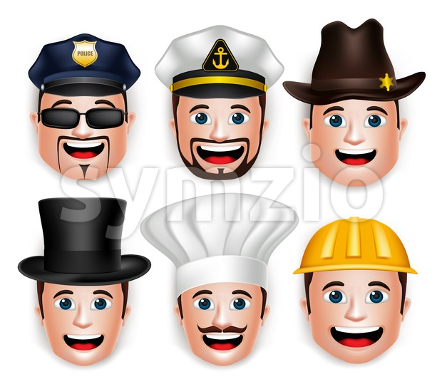 Vector Face and Head of Man Sailors Set Stock Vector