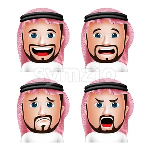 Saudi Arab Man Head with Facial Expressions in Vector Stock Vector