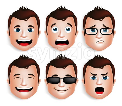 3D Realistic Vector Set of Handsome Man Head Stock Vector