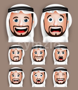 Set of 3D Realistic Vector Arab Man Head Stock Vector