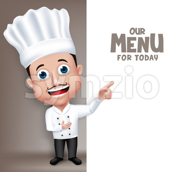 Young Professional Chef Character in Vector Stock Vector