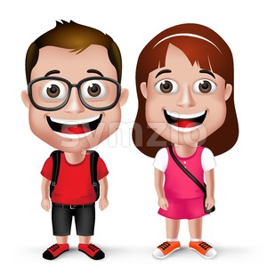 School Boy and Girl Student Wearing Backpack Stock Vector