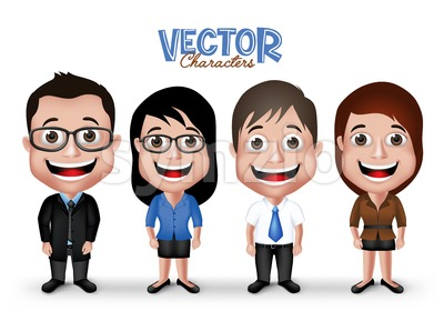 Professional Man and Woman Characters in Vector Stock Vector
