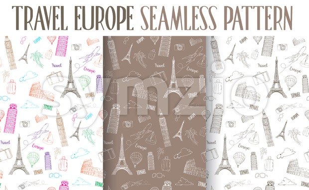 Set of Travel Europe Seamless Pattern Vector Stock Vector
