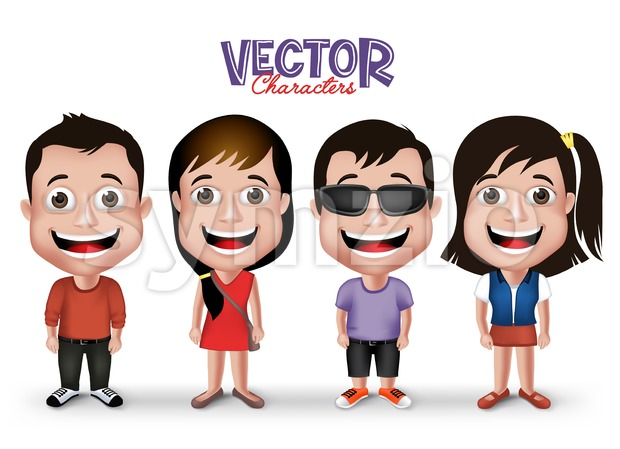 Kids Characters Set Happy Smiling in Casual Stock Vector