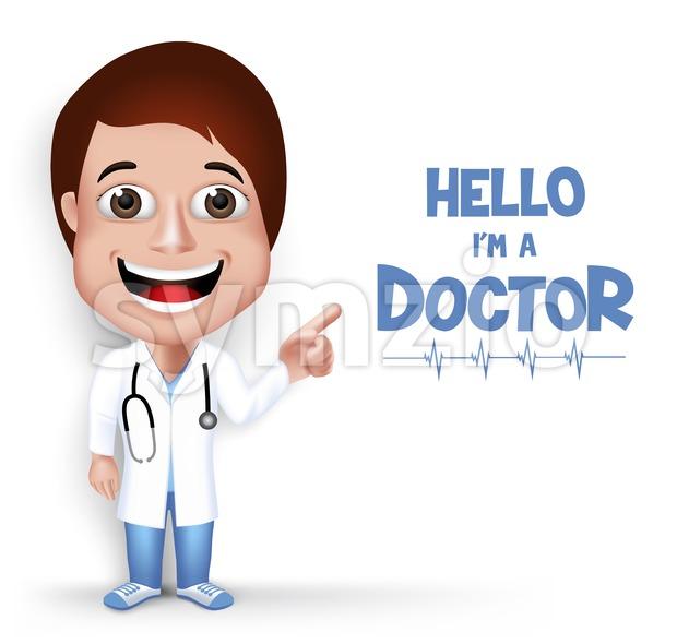 Vector Female Doctor Character Speaking Stock Vector