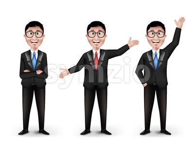 Set of Businessman Characters With Eyeglasses Stock Vector