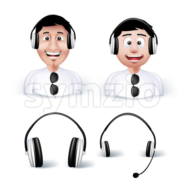 Man Avatar with HeadSet and Headphone Stock Vector