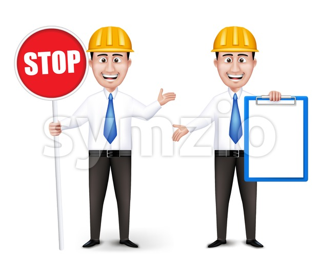 Set of Realistic Engineers Characters Stock Vector