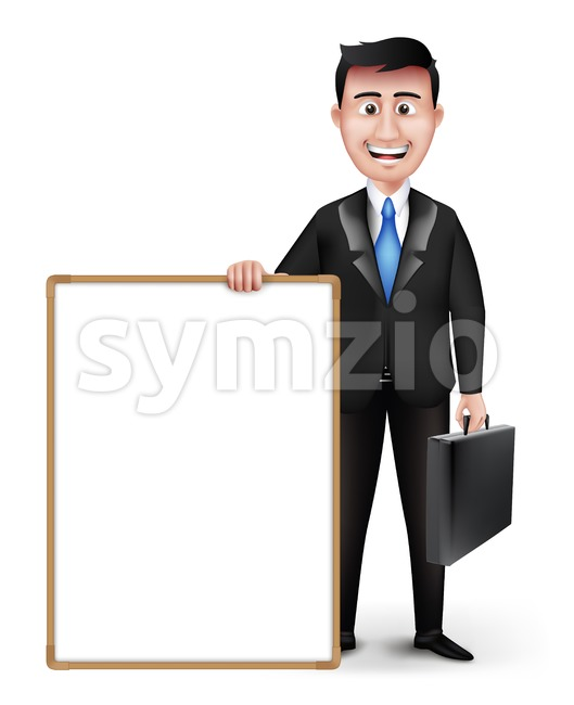 Man Characters Holding Empty White Board Stock Vector
