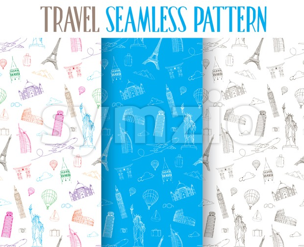 Set of Hand Drawn Three Different Travel Seamless Pattern Vector Illustration for Continuous Backgrounds Graphic Elements. This vector summer illustration was ...