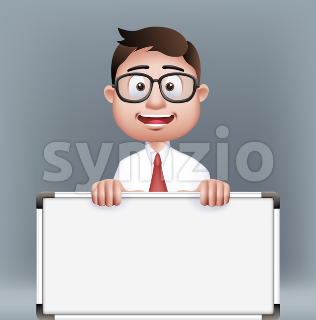 Man Vector Character Holding Empty White Board Stock Vector