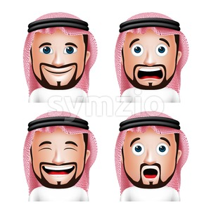 Vector Set of 3D Realistic Saudi Arab Man Head Stock Vector