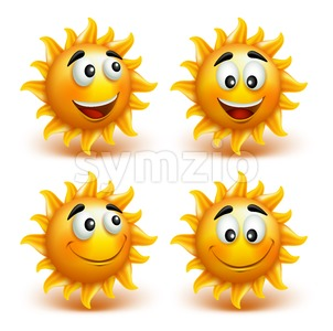 Set of Summer Sun Vector Characters Stock Vector