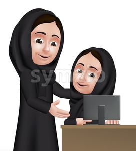 Vector Arab Woman Teacher Character Teaching Stock Vector