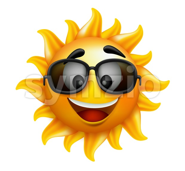 Happy Smile Sun Character Vector Illustration Stock Vector