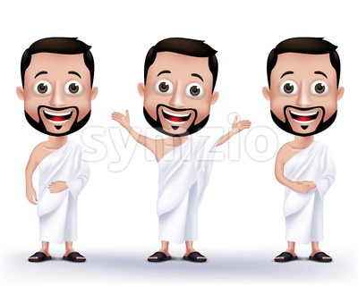 Set of Vector Wearing Ihram Muslim Man Characters Stock Vector