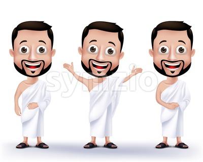 Set of Vector Wearing Ihram Muslim Man Characters Stock Vector