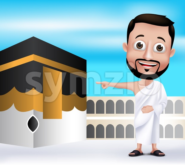 Muslim Man Character Wearing Ihram Clothes Stock Vector