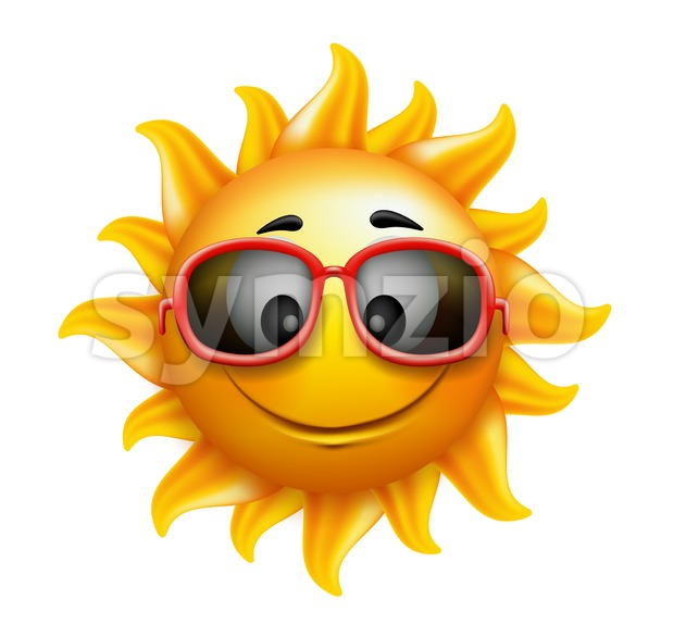 Summer Happy Smiling Sun Character Vector Stock Vector