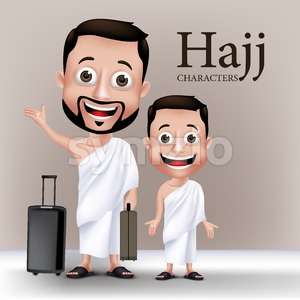 Man and Kid Vector Characters Wearing Ihram Clothes Stock Vector