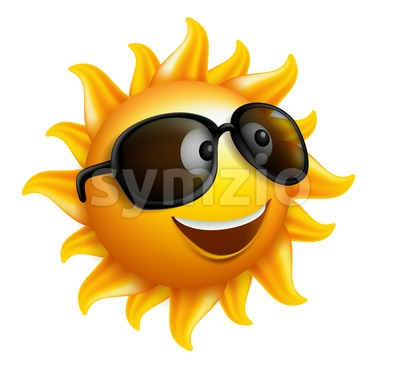 Sun Vector Character for Happy Summer Stock Vector