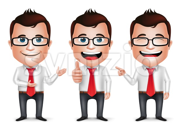 Vector Set of Businessman Cartoon Character Stock Vector